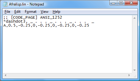 Afralisp.lin in Notepad