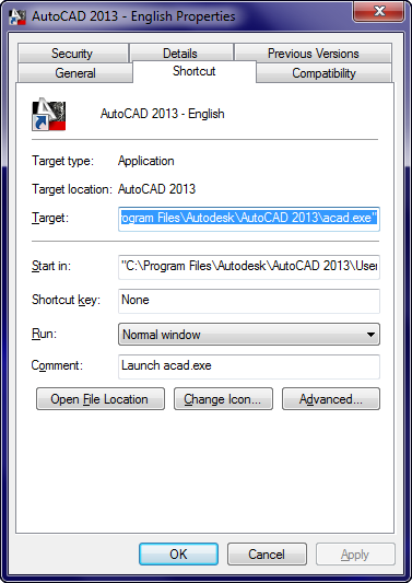 The AutoCAD Shortcut Properties Dialog