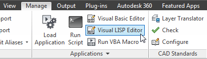 Visual LISP Editor on the Ribbon